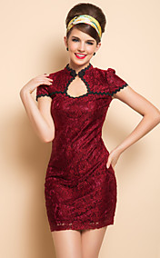 TS Plunging Neck Lace Chinese Bodycon Dress