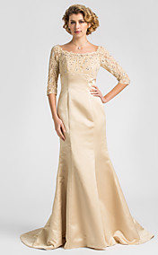 Trumpet/Mermaid Scoop Sweep/Brush Train Satin And Lace Mother of the Bride Dress