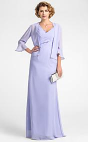 Sheath/Column V-neck Floor-length Chiffon Mother of the Bride Dress With A Wrap