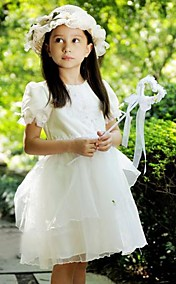 Lovely Short Puff Balloon Sleeve Satin/Tulle Wedding/Evening Flower Girl Dress