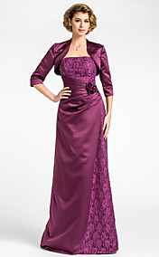 Sheath/Column Strapless Floor-length Lace And Satin Mother of the Bride Dress With A Wrap