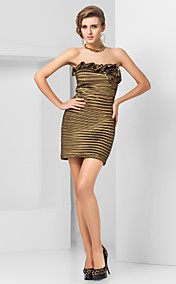Sexy Sheath/Column Bateau Strapless Short/Mini Taffeta Cocktail Dresses