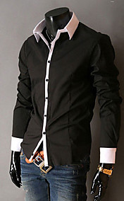 Men's Shirt Collar Contrast Color Casual Long Sleeve Shirt