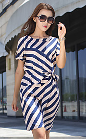Cjelly Round Neck Stripes Short Sleeve Dress
