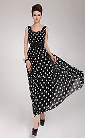 Women's Chiffon Belted Polka Dots Maxi Dress