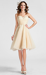 A-line Sweetheart Knee-length Organza Cocktail Dress