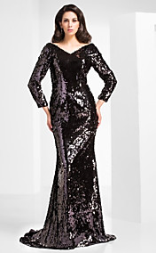 Trumpet/Mermaid V-neck Sweep/Brush Train Sequined Evening Dress With A Bow