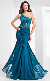 Trumpet/Mermaid One Shoulder Floor-length Tulle And Chiffon Evening Dress
