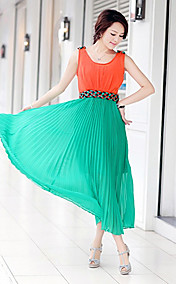 SMJR Fashion Linen Chiffon Pleat Dress