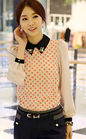 Women's Print Beaded Collar Blouse Shirt