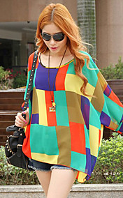 Women's Chiffon Oversized Color Block Blouse
