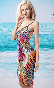Women's Fashion Floral Print Backless Swim Dress(Length:150cm,Width:105cm)
