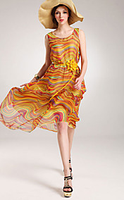 Women's Chiffon Belted Print Maxi Dress