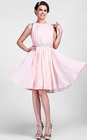 A-line Jewel Knee-length Chiffon Cocktail Dress