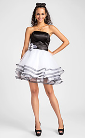 Ball Gown Strapless Short/Mini Satin And Tulle Cocktail Dress