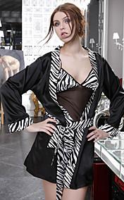 Black-white Sexy Straped Slip&Robe Set(Bust:74-84cm)
