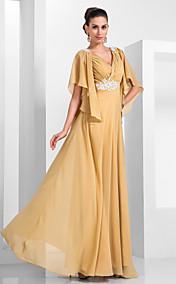 A-line V-neck Floor-length Chiffon Evening Dress  (466566)