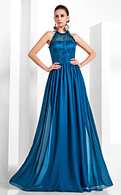 Sheath/Column Halter Floor-length Chiffon And Lace Evening Dress
