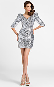 Sheath/Column V-neck Short/Mini Half Sleeve Sequined Cocktail Dress