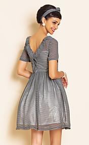 TS VINTAGE Stripes Swing Chiffon Dress
