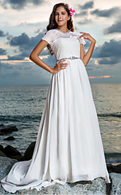Sheath/Column Jewel Court Train Chiffon Wedding Dress