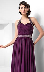 Sheath/Column Halter Floor-length Chiffon Evening Dress