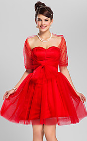 A-line Sweetheart Knee-length Tulle And Satin Cocktail Dress