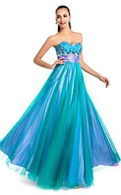 A-line/Princess Strapless Floor-length Tulle Evening Dress