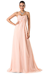 Sheath/Column Sweetheart/Spaghetti Straps Sweep/Brush Train Chiffon Evening/Prom Dress