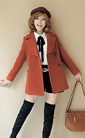 Women's Casual Double Breast Woolen Coat