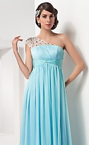 A-line One Shoulder Floor-length Chiffon And Tulle Evening/Prom Dr