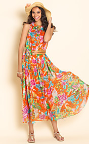 TS Print Sleeveless Chiffon Belted Midi Dress