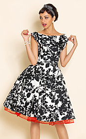 TS VINTAGE Print Swing Dress With Petticoat