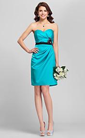 Sheath/Column Spaghetti Straps Mini/Short Satin Bridesmaid Dress