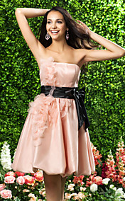 A-line Strapless Knee-length Organza Bridesmaid Dress