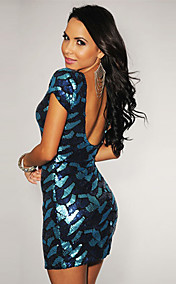 Open Back Sequin Dress(Bust:86-102cm Waist:58-79cm  Hip:90-104cm Length:78cm)