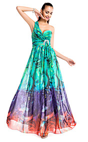 A-line/Princess One-shoulder Floor-length Printed Chiffon Evening Dress