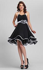 A-line Halter Short/Mini Flower(s) Chiffon Bridesmaid Dress