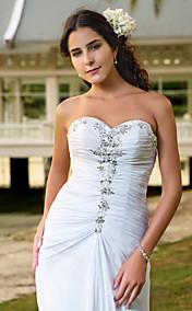 Sheath/Column Sweetheart Court Train Chiffon Wedding Dress