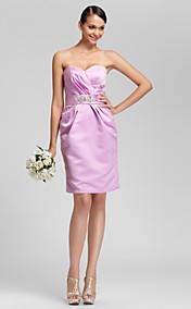 Sheath/Column Sweetheart Knee-length Satin Bridesmaid Dress