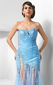 Sheath/Column Sweetheart Sweep/Brush Train Tulle Evening Dress