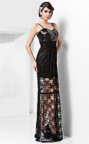 Sheath/Column Sweetheart Floor-length Lace And Sequined Evening Dress