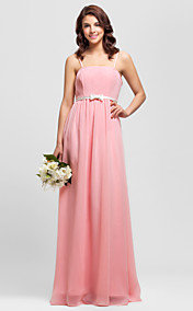 Sheath/Column Spaghetti Straps Floor-length Satin Bridesmaid Dress