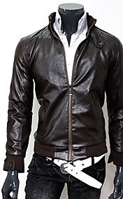 Men's Stand Collar PU Leather Coat