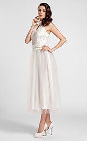 A-line High-neck Tea-length Satin And Tulle Evening Dress