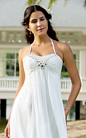 Sheath/Column Halter Sweep/Brush Train Chiffon Wedding Dress