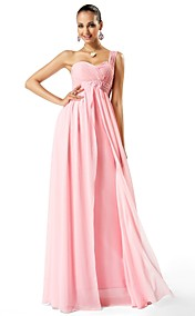 Sheath/Column One Shoulder Floor-length Chiffon Evening Dress (466606)