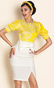 TS Contrast Color Jacquard Dress