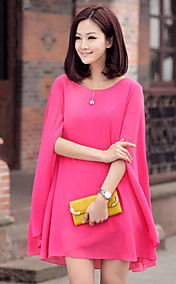 Women's Chiffon Solid Color Cape Sleeve Blouse