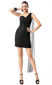 Sheath/Column One Shoulder Short/Mini Tulle Cocktail Dress